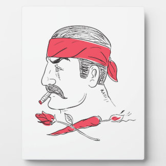 Mexican Guy Cigar Hot Chili Rose Drawing Plaque