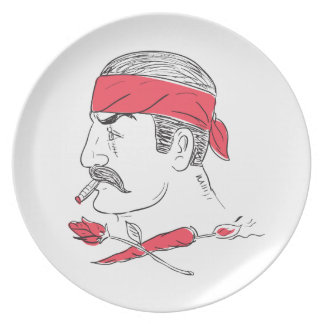 Mexican Guy Cigar Hot Chili Rose Drawing Plate