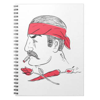 Mexican Guy Cigar Hot Chili Rose Drawing Spiral Notebook