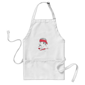 Mexican Guy Cigar Hot Chili Rose Drawing Standard Apron