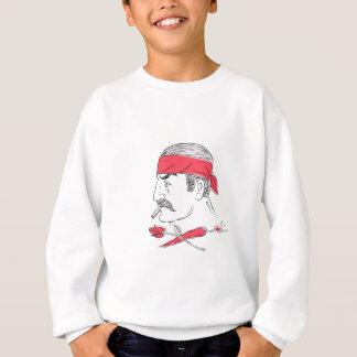 Mexican Guy Cigar Hot Chili Rose Drawing Sweatshirt