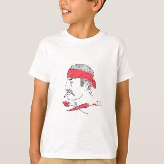 Mexican Guy Cigar Hot Chili Rose Drawing T-Shirt