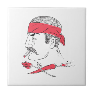 Mexican Guy Cigar Hot Chili Rose Drawing Tile