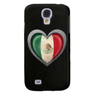 Mexican Heart Flag Steel Mesh Effect Samsung Galaxy S4 Cover