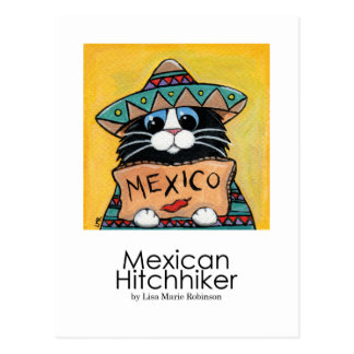 Mexican Hitchhiker Whimsical Cat Art Postcard