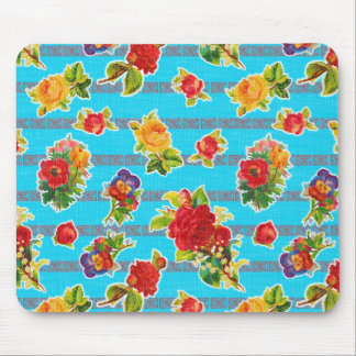 Mexican Inspired Oilcloth - Turquoise Flowers Mouse Pad
