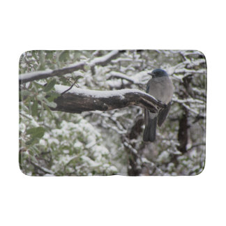 Mexican Jay on a Snowy Branch Bath Mat