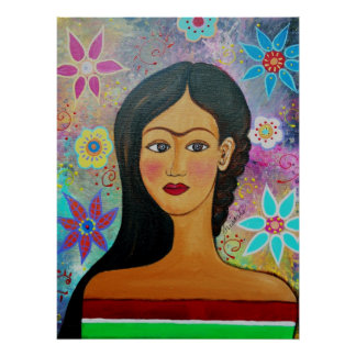 MEXICAN LADY PORTRAIT PAINTING POSTER
