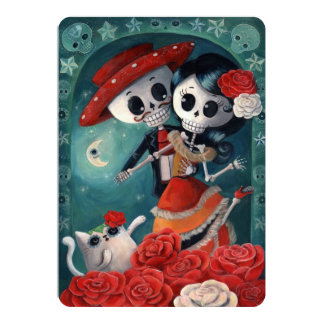 Mexican Lovers The Day of The Dead Invitations