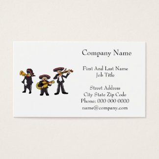 Mexican Mariachi Band Cartoon Illustration Business Card
