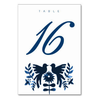 Mexican Otomi Themed Table Card - Navy