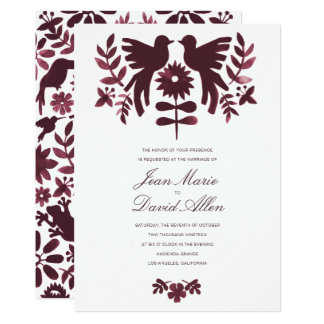 Mexican Otomi Wedding Invitation - Burgundy