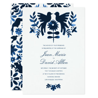 Mexican Otomi Wedding Invitation - Navy