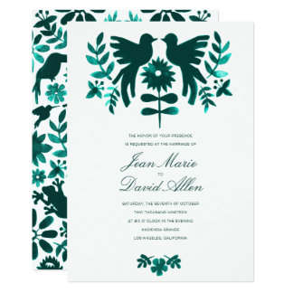 Mexican Otomi Wedding Invitation - Teal