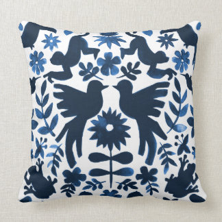 Mexican Otomi Wedding Ring Bearer Pillow - Navy