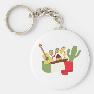 Mexican Party Basic Round Button Key Ring