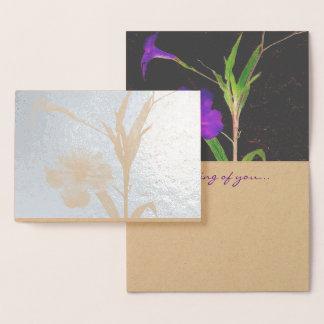 Mexican Petunia Purple Foil Card