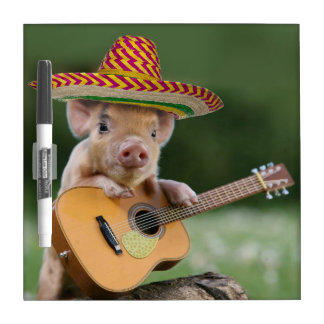 mexican pig - pig guitar - funny pig dry erase board