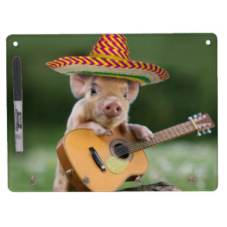 mexican pig - pig guitar - funny pig dry erase board with key ring holder