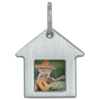 mexican pig - pig guitar - funny pig pet ID tag