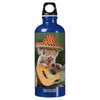 mexican pig - pig guitar - funny pig water bottle