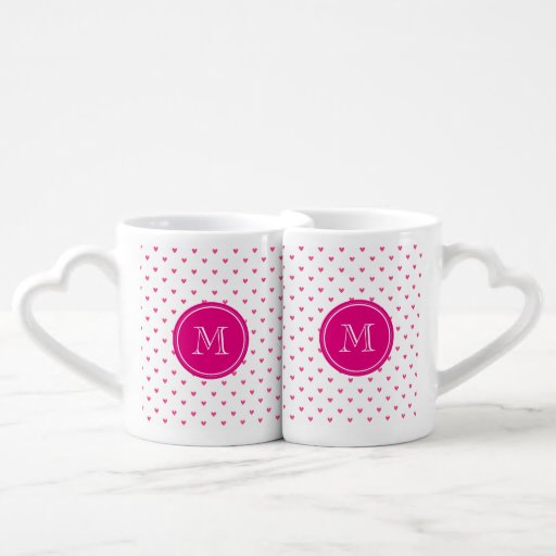 Mexican Pink Glitter Hearts with Monogram Lovers Mugs