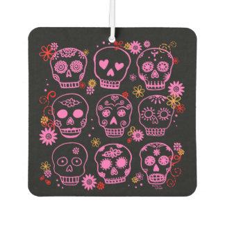 Mexican Pink Skulls Car Air Freshener