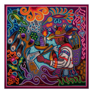Mexican poster huichol - Cazador and deer