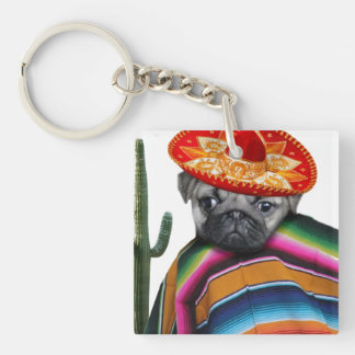 Mexican Pug dog Double-Sided Square Acrylic Key Ring