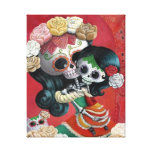Mexican Skeleton Mother and Daughter Gallery Wrap Canvas