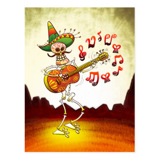 Mexican Skeleton Playing Guitar Postcard