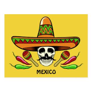 Mexican Skull custom text & color postcard