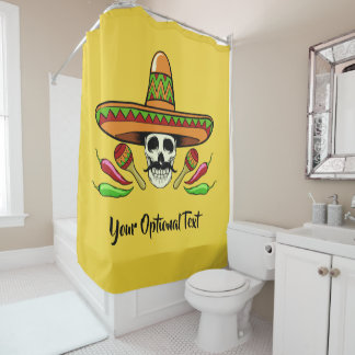 Mexican Skull custom text & color shower curtain