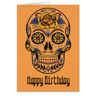Mexican skull day of the dead birthday card