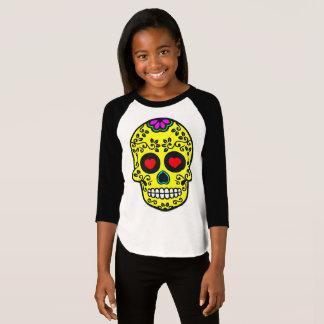 mexican skull Girls' American Apparel 3/4 Sleeve T-Shirt
