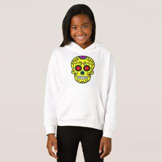 mexican skull Girls' Fleece Pullover Hoodie, White