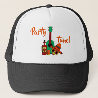 Mexican skull head party time design trucker hat