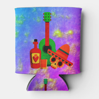 Mexican Skull heads musical party design Can Cooler
