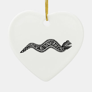 Mexican Snake Ceramic Heart Decoration