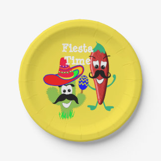 Mexican Sombrero Cactus Chilli Pepper Fiesta Party Paper Plate
