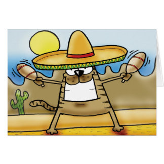 Mexican Sombrero Cat Card