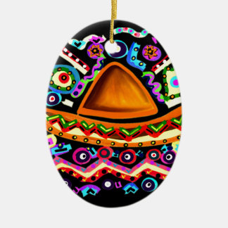 Mexican Sombrero Ceramic Oval Decoration