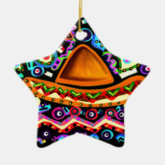 Mexican Sombrero Ceramic Star Decoration
