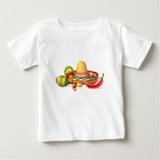 Mexican Sombrero Maracas and Chilli Pepper Baby T-Shirt