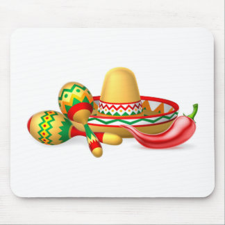 Mexican Sombrero Maracas and Chilli Pepper Mouse Pad