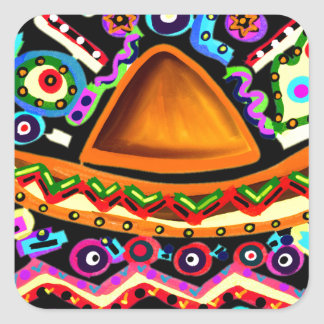 Mexican Sombrero Square Sticker