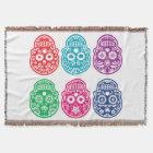 Mexican Sugar Skull, Dia De Los Muertos Colourful Throw Blanket