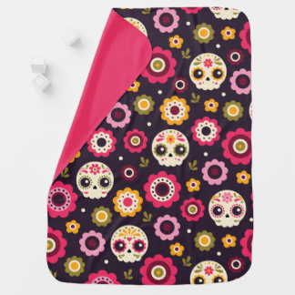 Mexican Sugar Skull Floral Pattern Baby Blanket