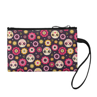 Mexican Sugar Skull Floral Pattern Coin Purse