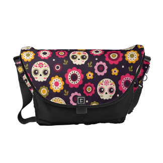 Mexican Sugar Skull Floral Pattern Courier Bags